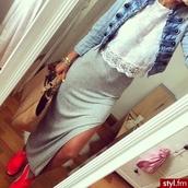 skirt,grey,long,long skirt