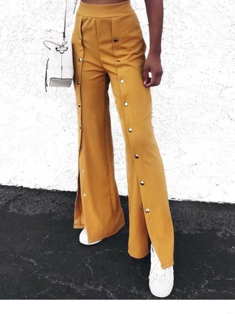pants yellow detailed mustard button
