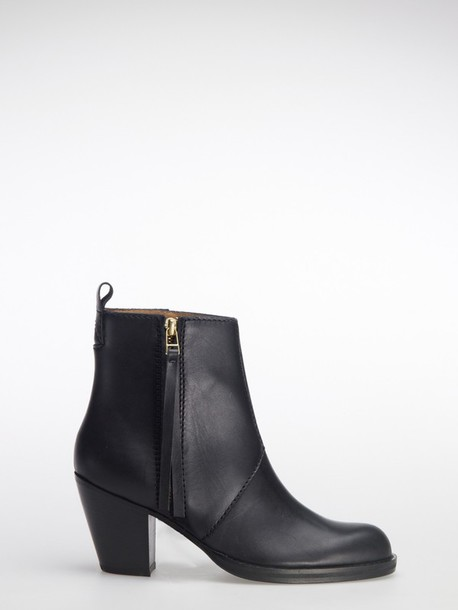 medium heels boots black shoes