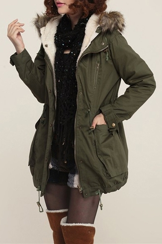 coat zaful army green jacket fur winter coat vintage christmas military style style indie