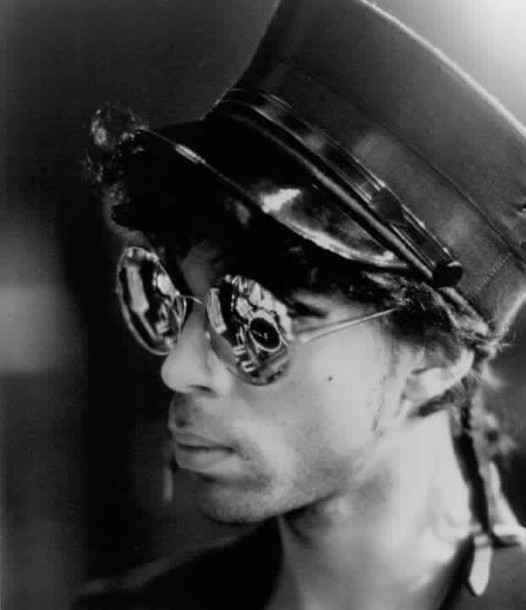 sunglasses prince sign 'o' the times round shades military style hat 1987