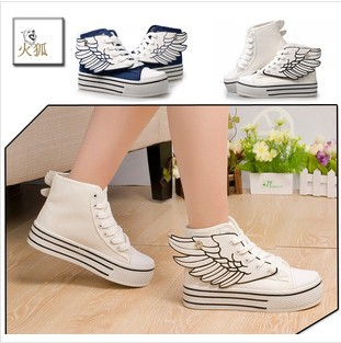 high top shoes female wings to fly paltform canvas shoes fashion female high top shoes-inSneakers from Shoes on Aliexpress.com