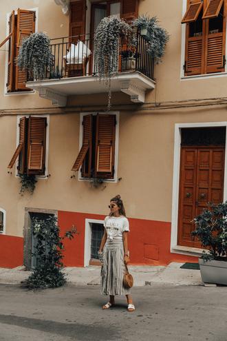 the fashion fraction blogger shirt skirt bag shoes sunglasses midi skirt gucci t-shirt fall outfits slide shoes round bag
