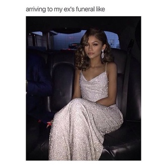 dress zendaya glitter dress sparkle grey formal dress