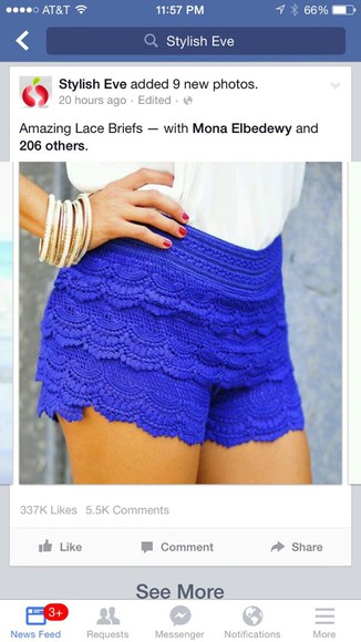 lace shorts blue