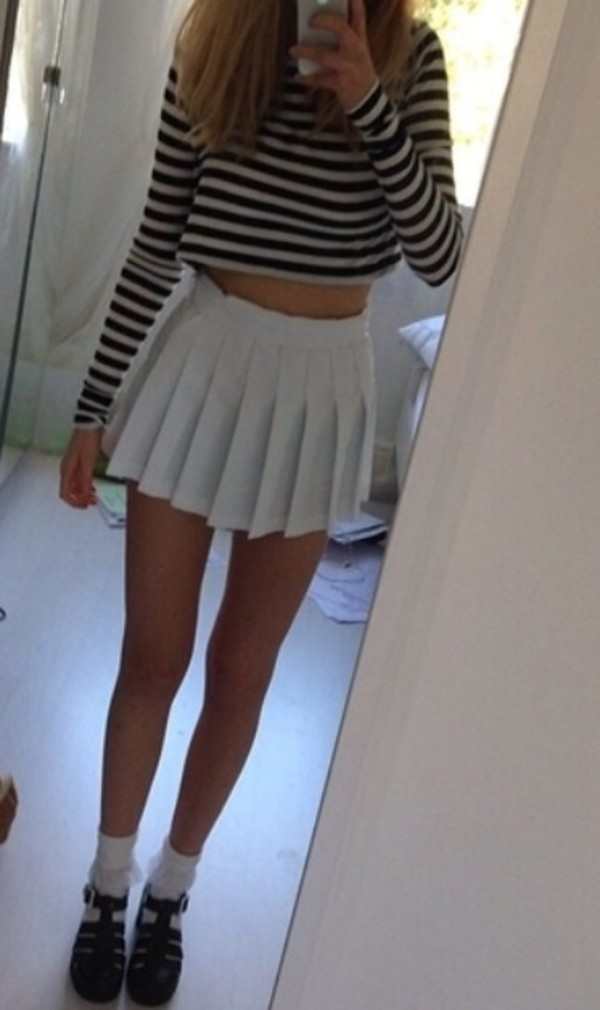 top stripes black and white long sleeves crop shoes straps grunge