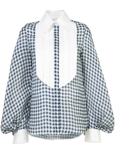 blouse women cotton blue silk gingham top
