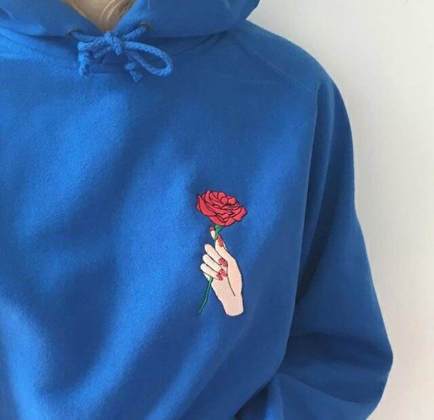 Sweater hoodie pullover sweatshirt instagram tumblr rose flowers - Wheretoget