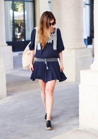 elodie in paris blogger dress navy dress ralph lauren