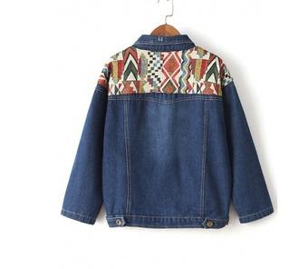jacket girl girly girly wishlist denim denim jacket tribal pattern print