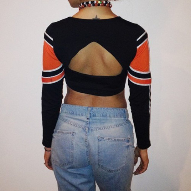 e4928962516 shirt cropped crop tops long sleeve crop top back cut-out cit out on back