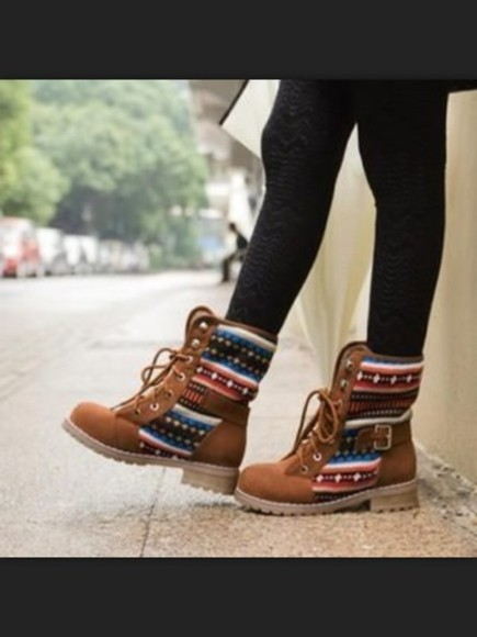 aztec shoes cute aztec print boots print color love c riding boots printed boots tribal print brown leather boots cowboy boots