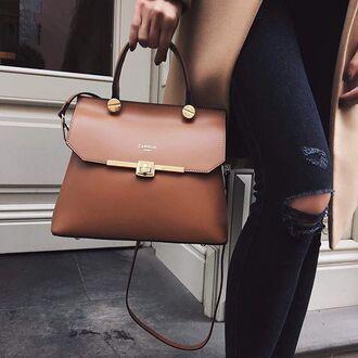 bag tumblr brown bag jeans denim blue jeans ripped jeans satchel bag brown leather bag