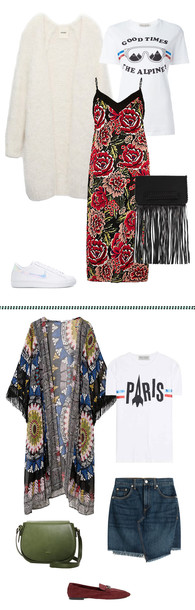 cardigan fuzzy cardigan long cardigan kimono print floral dress slip dress graphic tee denim skirt khaki olive green loafers white sneakers bff fall outfits frayed denim skirt fringed bag co-ordinates t-shirt dress skirt bag shoes