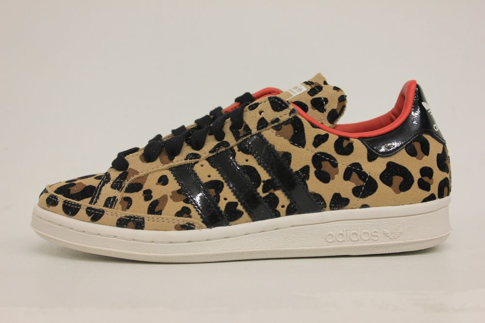 Adidas National Tennis OG Cheetah Print Black White Red Womens Size Shoes G96538 | eBay