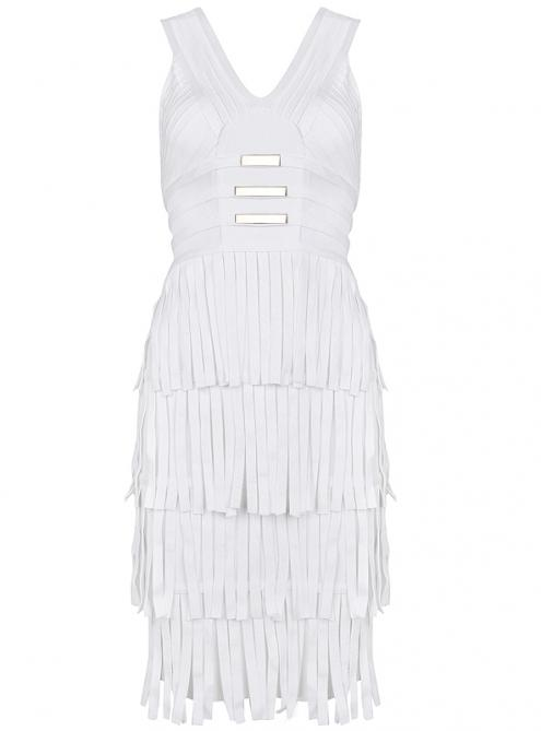 White V Neck Metallic Tassel Mesh Sexy Bandage Dress H820$119