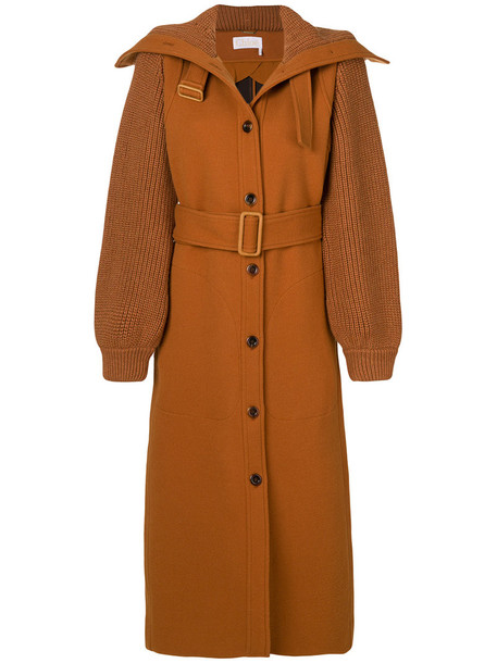 Chloe coat high women high neck spandex wool brown