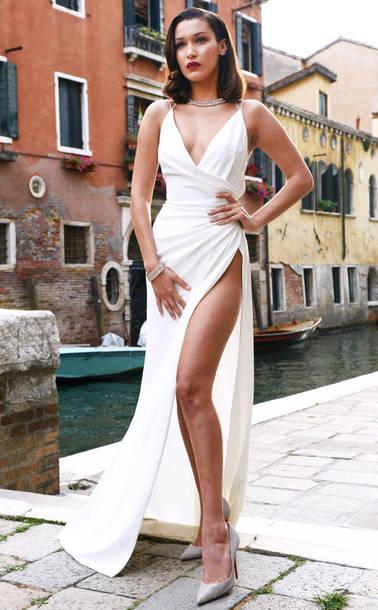 b0454430dd3 dress gown prom dress white white dress pumps bella hadid wrap dress  necklace model maxi dress