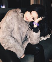 coat,kylie jenner,fur coat,grey,brown,grey coat,brown coat,leather pants,kendall and kylie jenner,faux fur coat,black leather pants,sweater,faux fur