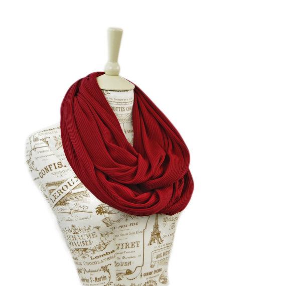 Red Infinity Scarf, Sweater Knit Scarf, Oxblood Burgundy Wine Scarf, Dark Red Scarves, Women