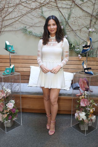shoes sandals lace dress white dress white lace dress olivia munn mini dress