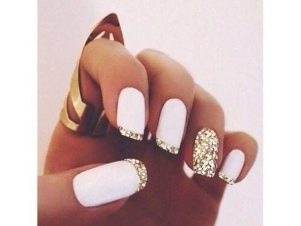 nail polish jewels gold ring nail accessories