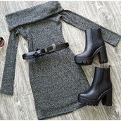 dress,belle xo,grey,charcoal,long sleeves,off the shoulder,strapless,winter outfits,fall outfits,spring,summer,warm,cozy,style,fashion,cute