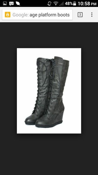 lace up boots boots pleather wedge heel wedgeheel vintage goth european