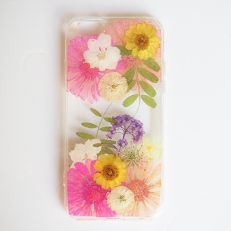 phone cover summer summer handcraft flowers floral cute cool pressed flowers pink daisy love handmade handcraft iphone 6s iphone 6s plus valentines day gift idea holiday gift mothers day gift idea gift ideas iphone cover iphone case iphone samsung galaxy cases