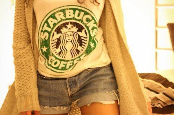 t-shirt sweater blouse starbucks coffee