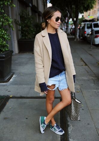 sincerely jules blogger denim skirt ripped nike sneakers beige coat cable knit
