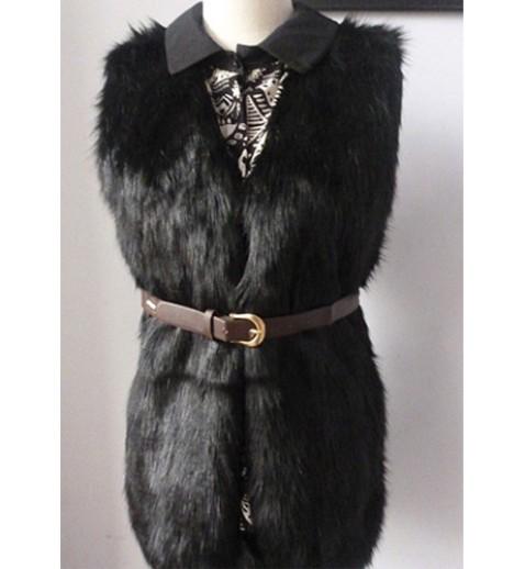 Woolly Black Faux Fur Vest - Vests - Outerwear - Clothing