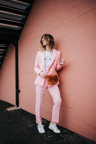 jacket fluffy bag blazer pink blazer pants pink pants sneakers bag white top