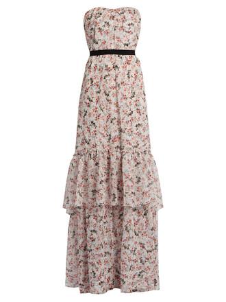gown floral print silk dress