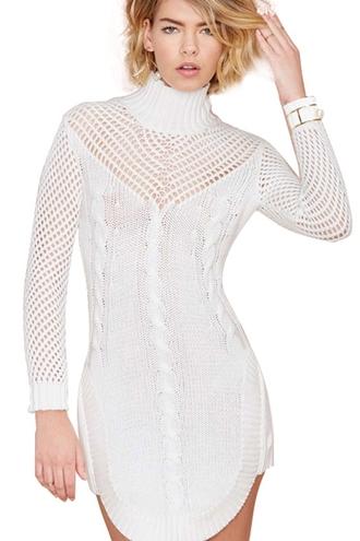 dress zaful white white lace dress knitted dress knitwear bodycon bodycon dress nastygal