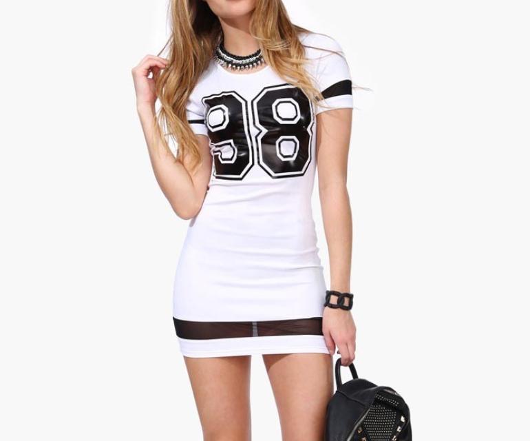 98 Print Mesh Mini Dress