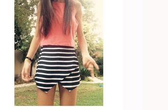 stripes black white shorts pretty