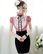 dress,red checkered dress,high collar dress,lace dress,ruffled collar,ruffle,bow,pencil dress,plaid dress