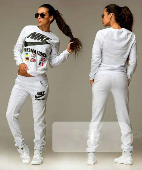 black and white blouse nike sportswear tracksuit white sport suit sport suit 2014 trendy trend sexy 2014 fashion trends 2014 fashion velure girl shirts girl Fruity-Girl hoodie logo black pants hood by air