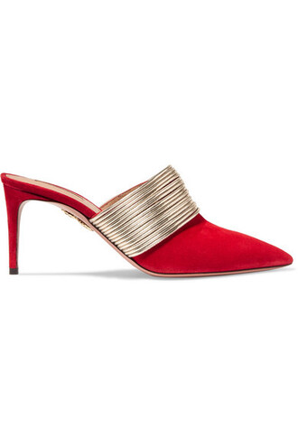 mules leather suede red shoes