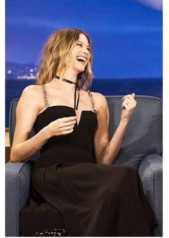 black dress midi dress model behati prinsloo bustier dress choker necklace