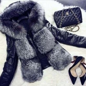 leather black jacket leather jacket fur fur jacket