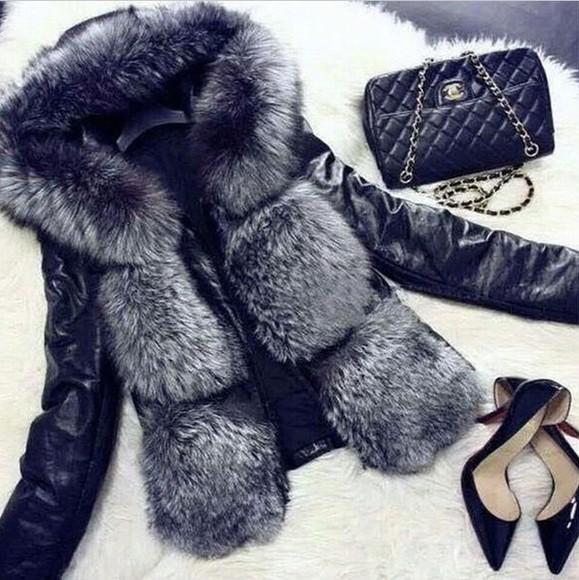 fur jacket fur jacket black leather jacket leather