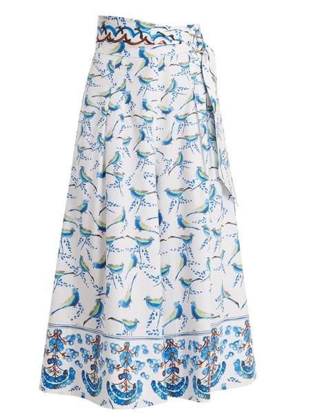 Peter Pilotto culottes cotton print blue pants