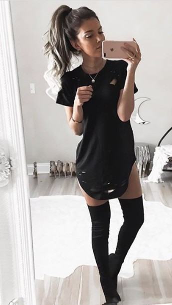 bf93242312c5 dress black distressed t-shirt dress