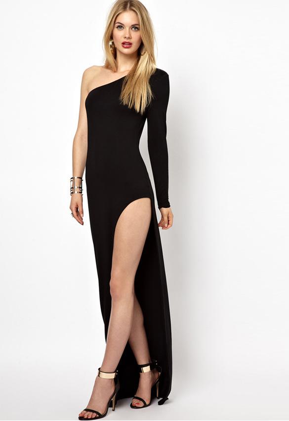 Shoulder black dress dress long sleeve side split