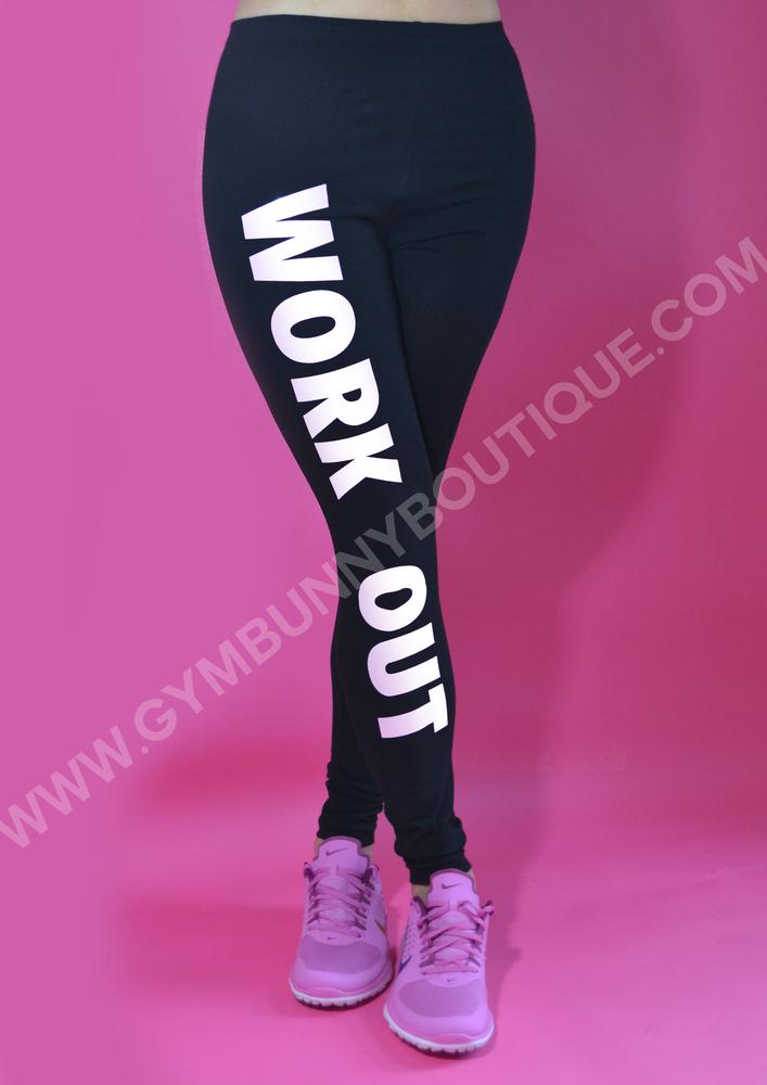 White 'work out' leggings , glam gym™