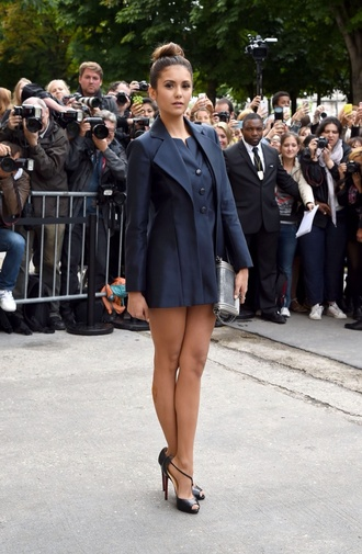 nina dobrev the vampire diaries navy matching dress something similliar chanel fashion week 2014