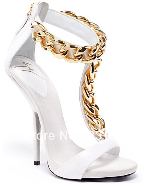 new 2013 Giuseppe  Classic GZ  white leather Gold chain high heel sandal 12cm-in Sandals from Shoes on Aliexpress.com