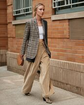 pants,wide-leg pants,high waisted pants,ankle boots,snake print,check blazer,handbag,crop tops